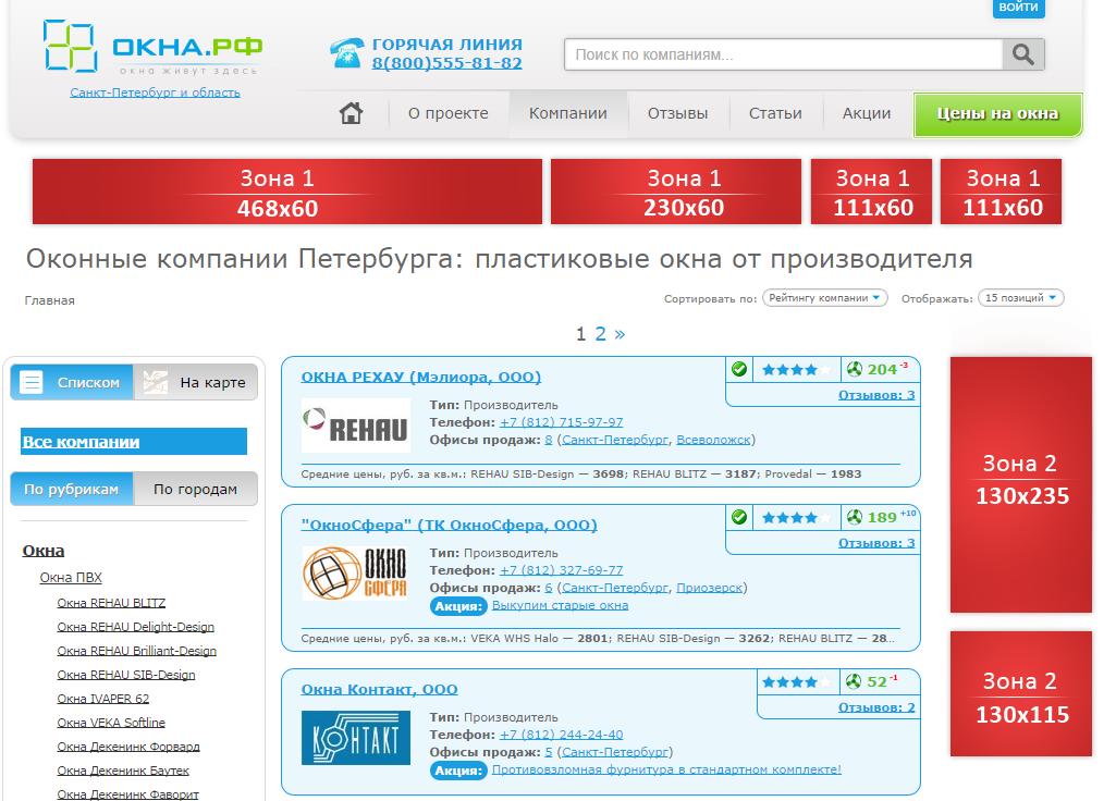рекламные места на ОКНА.РФ